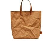Camel Brown Paper Look Tote Bag
