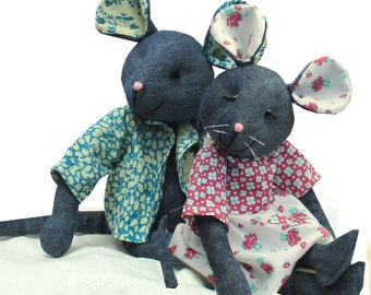 Raggedy Mouse soft toy sewing pattern