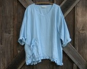 linen  top blouse tunic in light baby blue ready to ship