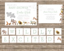Wildly Excited Jungle Wild Animal Baby Shower Design Suite - Professional Prints OR DIY Printing