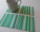 Set Of 4 Fabric Coasters/Stripe