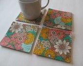 Set Of 4 Fabric Coasters/ Flower