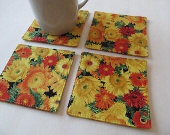 Set Of 4 Fabric Coasters/Flower