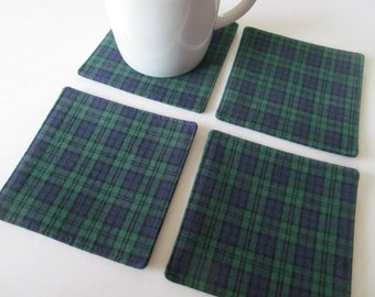 Set Of 4 Fabric Coasters/Green plaid