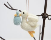 Stork with Baby Ornament - Christmas Ornament - Baby Announcement