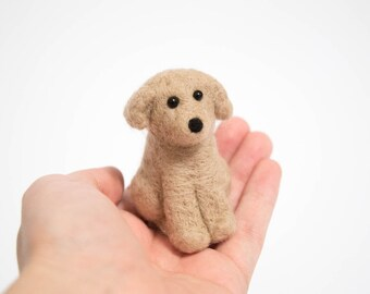 Felted Puppy - Needle Felted Dog - Felted Animal Figurine - Puppy Doll