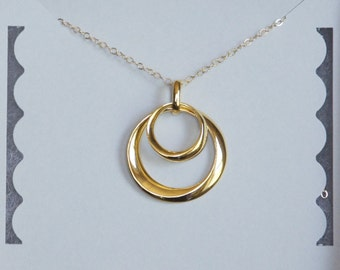 Infinity Necklace, Gold Circles, Two Circles, Gold Filled Chain, Eternity Necklace, Mother Daughter, Birthday Gift, Mother Gift
