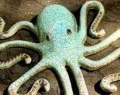 ON SALE!! Large Metal Octopus Wall Art, Recycled Metal Decor,Octopus hook, patio fence decor tentacle arm sculpture,Towel  Nursery Bath rack