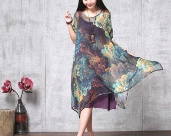 Casual Loose Fitting Short Sleeved  Chiffon. Long Dress  - Women Maxi dress Women blouse Tops 11