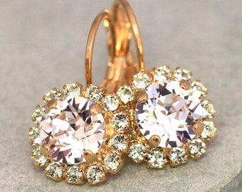 Bridal  Drop Earrings,Crystal White Mint Clear Droplet Earrings,Swarovski Bridal Dainty Earrings,Crystal Bridesmaids Drop shiny Earrings