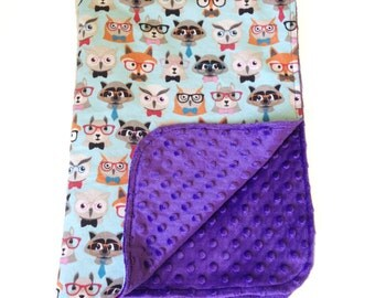 Baby blanket - blue woodland animals in glasses, soft snuggly purple spotted minky cute