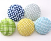 Simply Pretty / Thumbtacks  / Magnet / Pushpin / Fabric Covered / Grid Lines / Gray Turquoise Yellow Blue / Sewing Buttons / Craft Supply