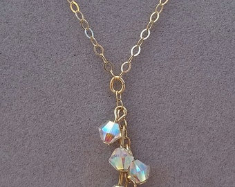 Tiny 14k Gold Filled 4mm AB Necklace