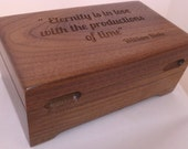 Wood  Watch Box with 2 Finger Grooves and Stop Route Feet  Excellent Wood--Red Stain Maple,  Mahogany in stock//Laser Engraved