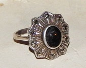 ReServed----Gorgeous Vintage Sterling Silver ---ONYX --MARCASITE Ring --925 --Size 8.75--Cocktail Ring