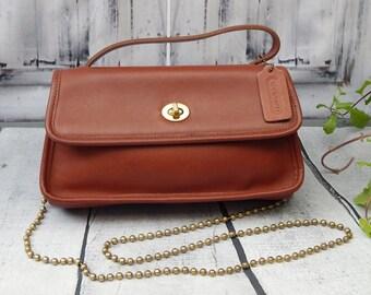 Authentic Vintage COACH Baugette Demi Bag---Flap Over -Convertable Clutch-Thick British Tan leather Wonderful--United States