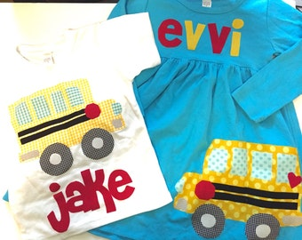 Back to School Sibling Set, School Bus Matching Outfit, Personalized Back to School Brother Sister, you Choose Sleeve Length and Color