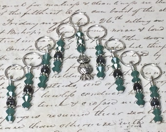 Wrapped Candy Stitch Marker Set-  Snag Free Beaded Knitting Progress Markers- Gift for Knitters- Green- Food Charm