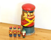 Vintage Nesting Soldier Wooden Doll Set w/ Four Miniature Smaller Dolls Toys Collection Marching Band Chippy Hand Paint Rustic Children Boys
