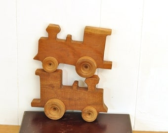 Wood Train Wall Art Set of 2 Choo Choo Kids Baby Childrens Room Decor Solid Wood Handmade Engine Cars