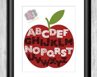 Alphabet Digital Print ABC's Apple * PERSONALIZED PRINT* Nursey Decor Playroom Decor
