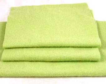 FELTED CASHMERE PIECES Bright Pistachio Green Upcycled Sweater Scraps Woolen Fabric 1379