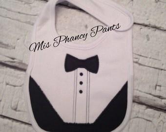 Tuxedo Tux Baby Boy Bib Applique Embriodery Wedding