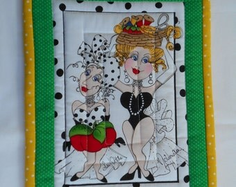 LORALIE  QUILTED MUGRUG - Snack Mat - Candle Mat Sewing Ladies Series - Sew Dottie and Notionella in Yellow Green Black Red and White