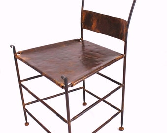Forged Iron Appalachian Mule Ear Dining Accent Side Chair