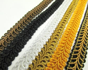 Dark Brown, Black, White, Antique Gold, Sunflower Yellow, or Black and Gold  1/2 inch Raised Heavy Gimp Decorator or Upholstery Trim