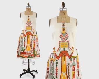 60s SW Kachina Doll Shift DRESS / Vintage 60s Novelty Print Cotton Day Dress M