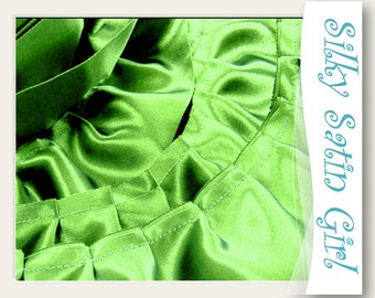 "Dark Lime Ruffle Trim Handmade from Satin Blanket Binding - apple green pleated ruffled edging, double sided, 2"" wide ruffles by the yard"