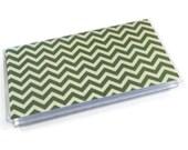 Checkbook Cover Green Chevron