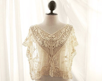 Women's Tunic Lace Vest Coverup Top Bridal Boho Chic 2015 Cream Crochet Great Gatsby Elven Marie Antoinette Romantic Ethereal  Boudoir Sheer
