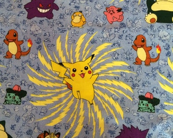 Fabric Pokemon Very Rare Pikachu 1990's Fabric Blue Background Fat Quarter FQ OOP Eustheelf