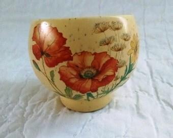 Petite vintage floral pot speckled slanted stoneware tiny herb planter