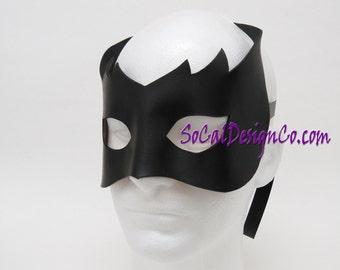Mens Masquerade Mask - Black - Leather Mask - Halloween Mask - Masquerade Mask - Leather Masks – Venetian Mask – Black Leather Mask
