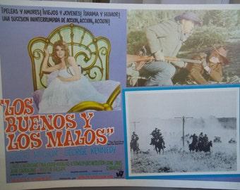 Spanish Language Movie Placard, Los Buenos y Los Malos, The Good Guys and the Bad Guys, Vintage Movie Poster, Western Movie, Robert Mitchum
