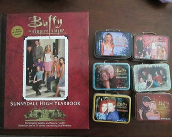 Buffy the Vampire Slayer Vintage 90s - 6 Bubblegum tins and Sunnydale High Yearbook
