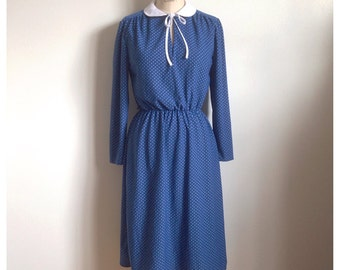 Vintage blue and white polka dot dress