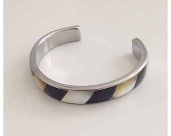 Silver tone brown black with mother of pearl stripe cuff bracelet