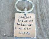 SALE.... Grandparent Keychain - Grandparent Gifts - Personalized Grandparent Gifts - Handstamped Key Chain - Grandpa Keychain