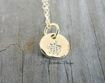 Gold Turtle Necklace - Sea Turtle Necklace - Handstamped Jewelry - Beach Necklace - Turtle - Bridesmaids Gifts - Beach Wedding