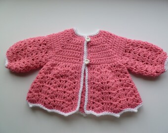 Crochet Baby Sweater in Blush Pink
