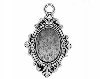 Antiqued Silver 18x13mm Cameo Pendant Setting with Ring Item 806x