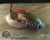 Men's Chakra Balance Leather Wrapped Bracelet