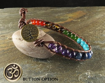 Men's Chakra Balance Leather Wrapped Bracelet