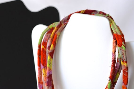Rustic Red Necklace, Unique Red Infinity Necklace, R100, Handmade Cotton Scarf, Southwestern Red Necklace, Fun Wrap Jewelry