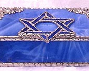 "Stained Jewelry Glass Box - Jewish Star of David, Blue Glass Jewel Box - Jewish Decor, Jewish Star, Religious Decor - 3 1/2"" x 6"" - 0043-BB"