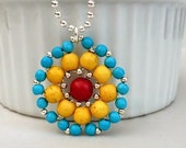 ON SALE Magnesite Mandala Pendant Necklace - Blue, Yellow and Red